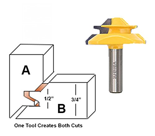 Valiant 45° Lock Miter Router Bit With 1/2 Inch Shank - 45-Degree Angle Miter Joint Cutter w/Anti-Kickback Design - Premium Woodworking Tool For Wood, MDF, Density Board, Chipboard, Splints & More by Valiant