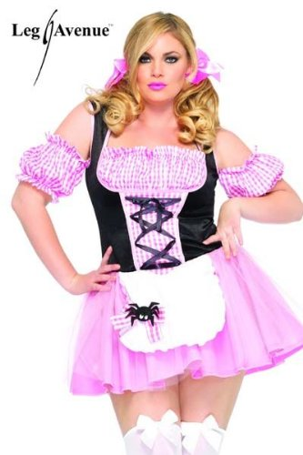 [Leg Avenue Women's Gingham Miss Muffet Plus Size Dress, Multi, 1x/2x] (Miss Muffet Costumes)