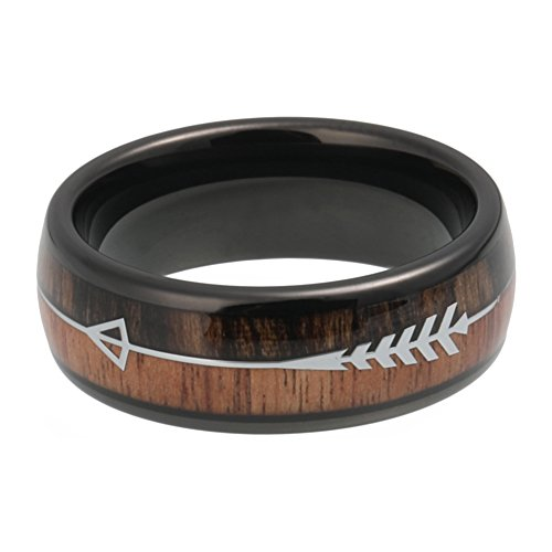 iTungsten 8mm Black Tungsten Carbide Rings for Men Women Wedding Bands Koa Wood Arrow Inlay Engagement Hunting Ring by iTungsten (Image #1)