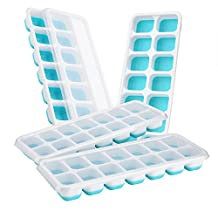 【Easy Release】Ice Cube Tray,Patec Easy to Remove ice cube trays,14 Cube Trays,Keep Drink Cool,LFGB Certified,Food-Safe Material,Spill-Resistant Lid Included,Easy to Use,Dishwasher Safe,White and Blue
