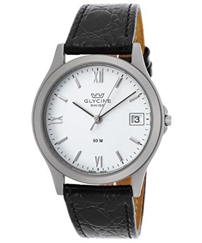 Glycine 3690-11Rp-Sb-Lbk9 Men's Black Genuine Leather White Dial Watch