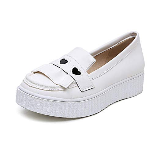 White Flat Round Mouth Shallow Shoes Women's Casual Head xq1nwR7BPz