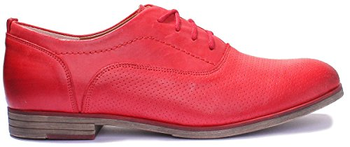 Shoes Red Leather Womens Ladies Reece Perforated Justin Oxford xn6YqfC0Aw