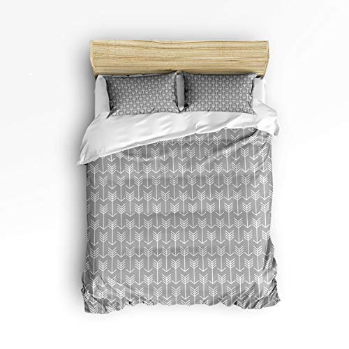 EZON-CH Twin Size Soft Children Duvet Cover Set for Teen Kids Girls Boys,Classic White Arrow Pattern Grey Bedding Sets,Include 1 Comforter Cover with 2 Pillow Cases