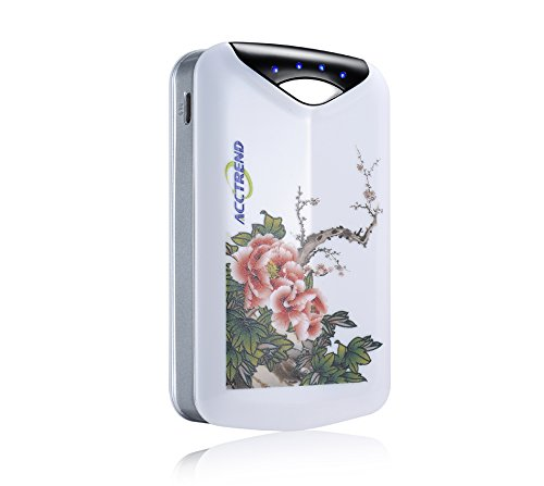 ACCTREND® unique design flower painting design 7200mAh Dual USB Portable Charger External Battery Pack for iPad Air, Mini, iPhone 5S, 5C, 5, 4S, Galaxy S5, S4, S3, Note 3, Nexus 4, 5, 7, 10, HTC One Oneorola Droid LG Optimus MOTO X and more 2 (M8) Mot and more, great gifts for friends Christmas Gift (7200mAh White)
