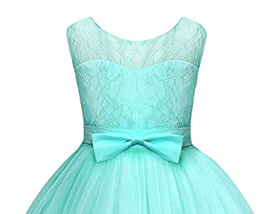 AmzBarley Girls Lace Wedding Dress A Line Embroidered Princess Pageant Formal Prom