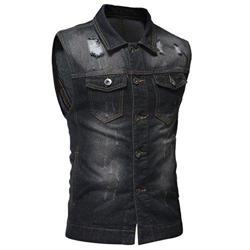 198f44768e ... WUAI Clearance Men's Sleeveless Fashion Lapel Vintage Jeans Vest  Motorcycle Jacket Waistcoat(Black,US ...