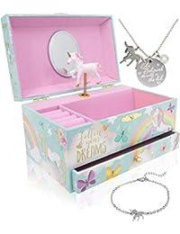 Unicorn Music Box & Little Girls Jewelry Set - 3 Unicorn Gifts for Girls