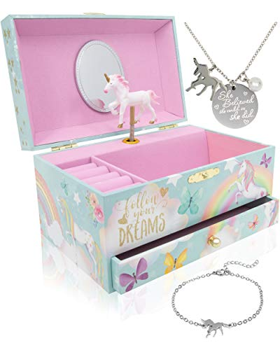 The Memory Building Company Unicorn Music Box & Little Girls Jewelry Set - 3 Unicorn Gifts for Girls -
