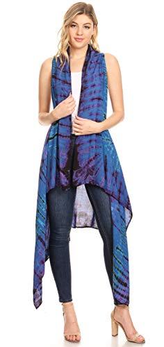 Femmes Tie Ouvert Pour En Cardigan Oversize Bleu Dye Manches Ivana Sans Sakkas B1f6q6