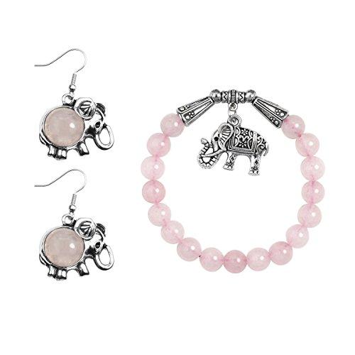 Lova Jewelry Elephant Pendant Pastel Pink Beads Silver Tone Metallic Dangle Earrings Bracelet Set