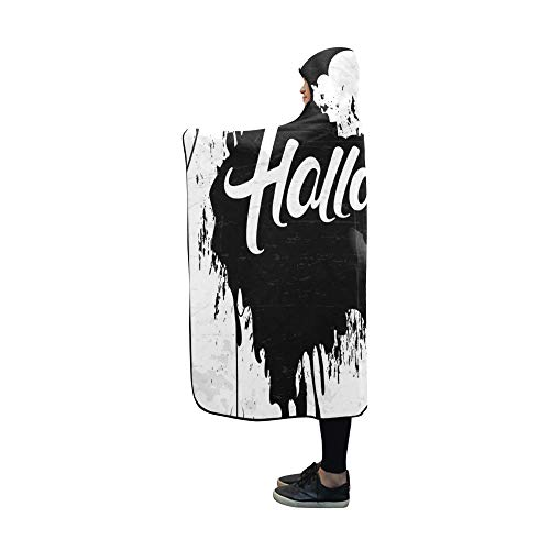VNASKL Hooded Blanket Scary Retro Happy Halloween Stylish Blanket 60x50 Inch Comfotable Hooded Throw Wrap ()