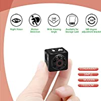 Mini Spy Hidden Camera, 1080P Night Vision Spy Camera Nanny Cam, Portable Hidden Video Camera with Loop Recording for Indoor Outdoor Use No Need WiFi