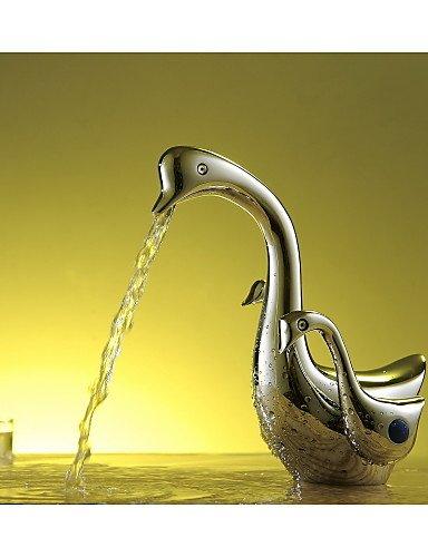 AQUAfaucet Schwan Badezimmer Waschbecken Beh?lterhahn Waschtisch-Mischbatterie aus Messing verchromt zWei?Griffen