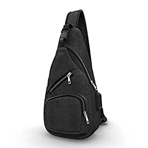 Chest Bag with USB Charging Port Headphone Hole NO Brand Logo, Oxford Sports Cross Body Bag for College Student Work Men & Women Black - by LC Prime