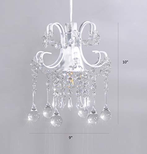 Mini Style Crystal Chandelier Pendant Light White,1-Light by Surpars House (Image #4)