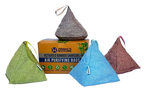 4 Pack of 175g Naturally Activated Bamboo Charcoal Air Purifying Bags | Natural Home Deodorizer Bags | Organic, Eco Friendly & Chemical Free | Odor Eliminator & Moisture Absorber Freshener Bags