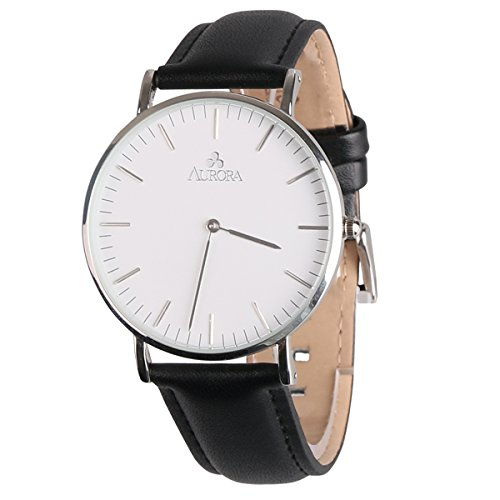 Black Leather Analog (Aurora Men's Casual Business Analog Quartz Waterproof Wrist Watch with Black Leather Band-Silver)