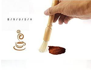 Coffee Grinder Cleaning Brush, Heavy Wood Handle & Natural Bristles Wood Dusting Espresso brush Accessories for Bean Grain Coffee Tool Barista Home Kitchen