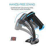 NADAMOO QR Code Scanner Wireless 2D Barcode Scanner With Stand Supports Screen Scan Handheld CMOS Imager Long Range Portable USB Bar Code Reader with Auto Sensing Read 1D 2D QR Code PDF417 Data Matrix