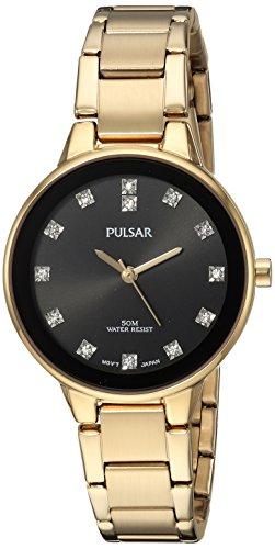 Pulsar Women's Quartz Watch with Stainless-Steel Strap, Gold, 7.5 (Model: PRS678