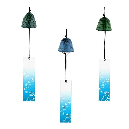 Fityle Set of 3 Traditional Japanese Iwachu Cast Iron Bell Wind Chimes Patio Decor