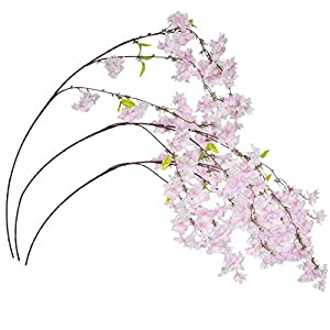 Royal Imports Cherry Blossom Flowers Artificial Fake Silk 3 Branches for Bouquets, Weddings, Valentines, Wreaths, Crafts, Pink 119