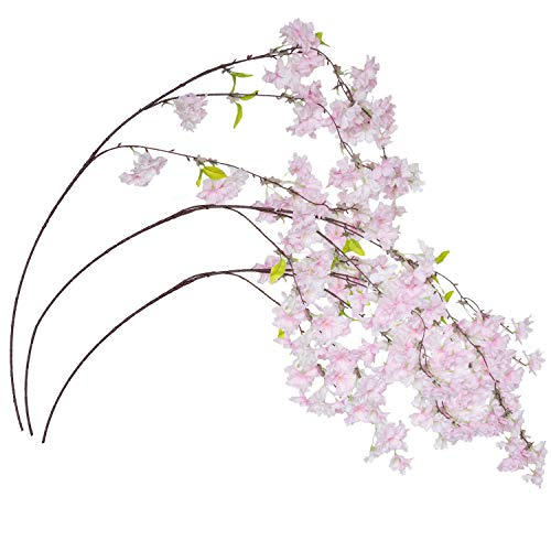 Royal Imports Cherry Blossom Flowers Artificial Fake Silk 3 Branches for Bouquets, Weddings, Valentines, Wreaths, Crafts, Pink