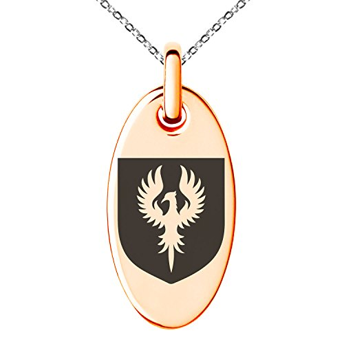 Tioneer Rose Gold Plated Stainless Steel Phoenix Resurrection Coat of Arms Shield Symbol Engraved Small Oval Charm Pendant Necklace by Tioneer (Image #1)