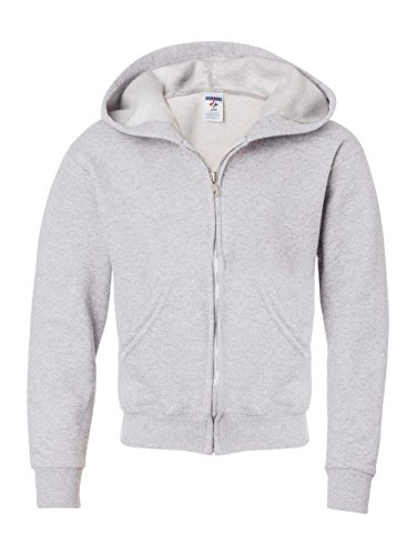 Ash Zip Sweatshirt Hoody Full (Jerzees Youth Nublend Full-Zip Hooded Sweatshirt, Ash, Small)