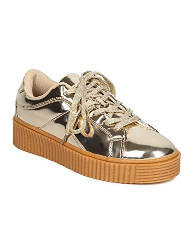 Women Mirror Metallic Lace Up Creeper Sneaker – Casual, Urban, Comfortable – Platform Sneaker – GC14 By Cape Robin – Gold (Size: 8.0)