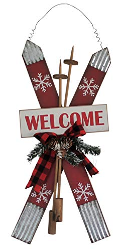 Clovers Garden Christmas Wall Décor Welcome Sign Rustic Holiday Skis Decoration for Door, Mantel, Entryway – Artisan Wood Decorative Indoor Wall Hanging for Home or Office ()