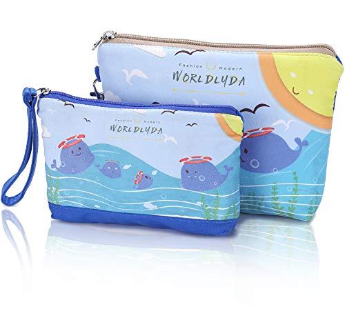 WORLDLYDA Ladies Women Canvas Travel Makeup Bag Portable Dolphin Print Cosmetic Pouch Clutch Organizer Toiletry Handbag Phone Cash Coin Purse (Set of 2, Blue)