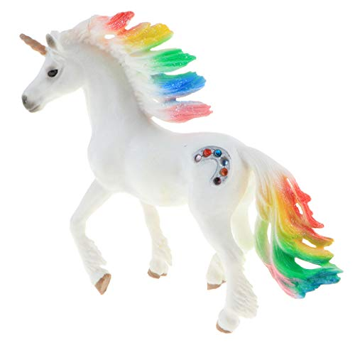 B Blesiya 5.5 Inch Plastic Realistic Magical Animal Model, Rainbow Unicorn Action Figure Statue Toy for Kids Toddlers, Home Decor, Collection
