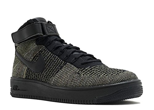 (Nike Mens AF1 Ultra Flyknit Mid Palm Green/Black/White Basketball Shoe 9.5 Men US )