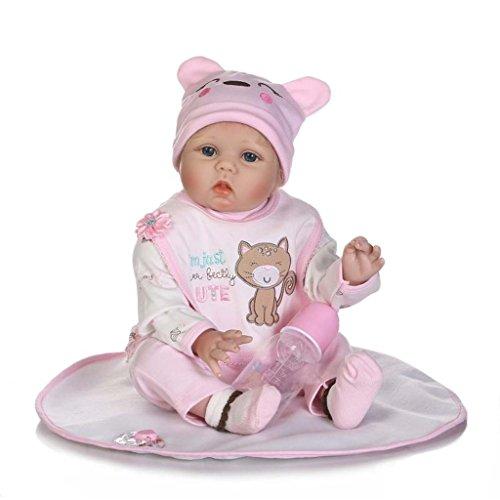 TERABITHIA 22 Zoll 55cm Lifelike Adorable Sammler Wiedergeborene Baby Puppe Magnetische Augen Open Neugeborene Puppe