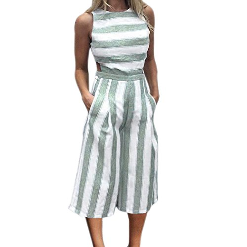 leeveless Striped Jumpsuit Casual Clubwear Wide Leg Pants Outfit for Women (3XL, Green) (Sleeve Striped Henley Hoodie)