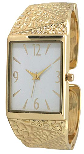 Ladies Western Texture Design Metal Bangle/Cuff Watch with Round Face (Gold)
