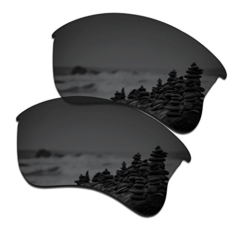 SmartVLT Men's Stealth Black Replacement Lenses for Oakley Flak Jacket XLJ - Polarized Flak Xlj Iridium Lenses Oakley Jacket Black