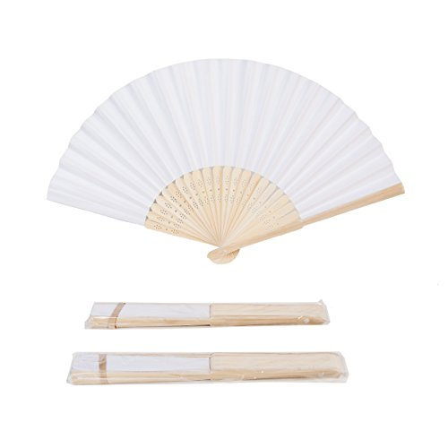 - Sepwedd 50pcs White Paper Hand Fan White Bamboo Folding Fan Handheld Fans Paper Folded Fan for Wedding Party and Home Decoration