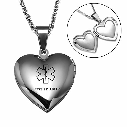 Comfybuy CF Stainless Steel Openable Photo Parper Medical Alert TYPE 1 Diabetic Necklace Medical ID Heart Locket Pendant Emergency Health Alert for Men Women Kids for Outdoor Gift