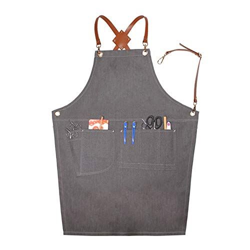 (LANDY Adjustable Denim Apron, Work Smock Jean Apron for Men & Women with Pocket & Cross-Back Straps for Salon Barber Hairdressers BBQ Grill Housewife (Grey C Type) )