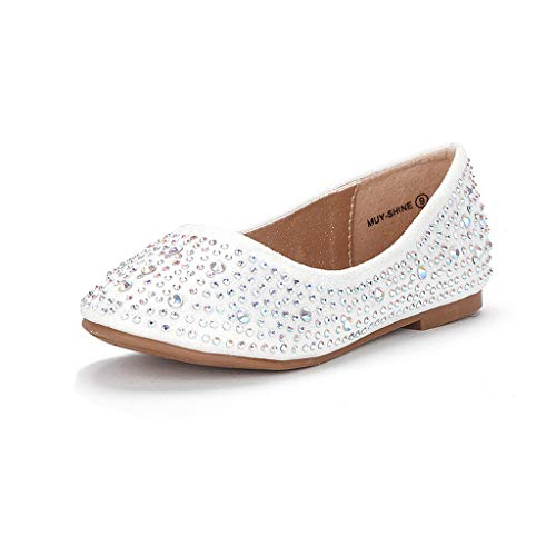 Leather Studded Bow Pumps - Dream Pairs MUY-SHINE Mary Jane New Casual Girls Rhinestone Studded Slip On Ballet Flats Toddler/ Little Girl) New,11 M US Little Kid,MUY-SHINE-WHITE