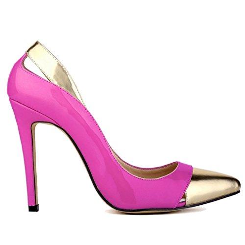 Creux Talon Combat Violet Xianshu Femmes Hollow Pompes Couleur Mouth de Chaussures Brevet Haute Couture cuir de xnFCwvZqPn