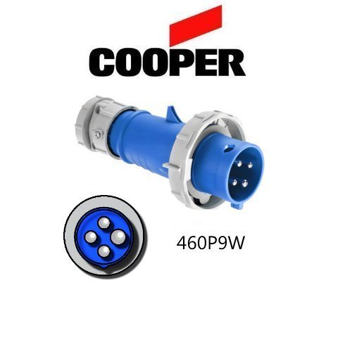 3 Conditioning Air Phase (Cooper IEC 309 460P9W Plug, 60A, 250V, 3 Pole, 4 Wire, 3-Phase, Watertight, Blue AH460P9W by)