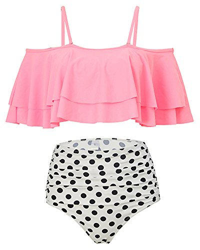 Ruffled Two Piece (Holipick Women Two Piece Ruffled Flounce Off Shoulder Tankini Top With Polka Dot Bottoms Swimsuits Set Pink L)