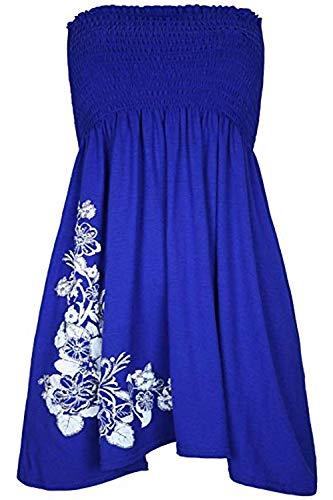 Floral Design Minidress Sheer spalline blu Womens senza E44Rqr5w