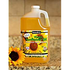 Smude sunflower oil 1 gallon plastic [cold pressed, all natural, nongmo cooking oil] 2 cold pressed at 85f degrees great for oil pulling heart healthy - high in vitamin e