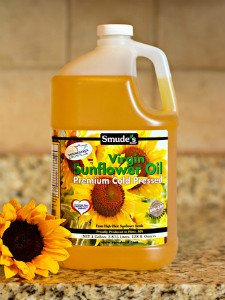 Smude Sunflower Oil 1 Gallon Plastic [Cold Pressed, All Natural, NonGMO Cooking Oil] 1 Cold Pressed at 85F Degrees Great for Oil Pulling Heart Healthy - High in Vitamin E