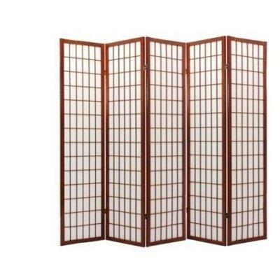 amazoncom 5 panel cherry finish room divider shoji screen kitchen u0026 dining